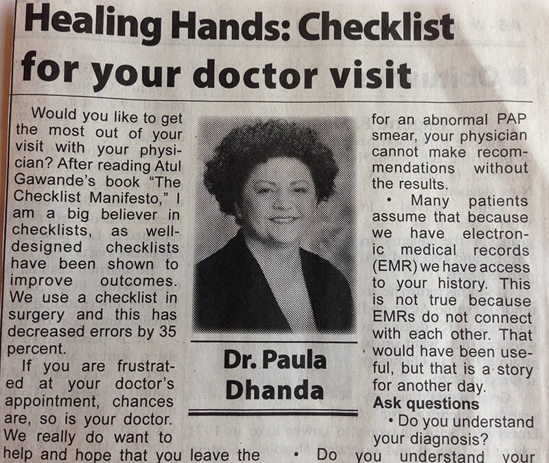 Checklist for your doctor visit